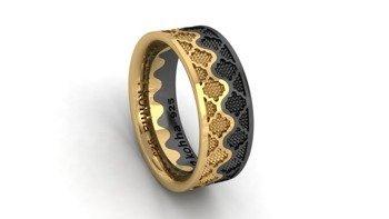 Zestaw obrączek Korona  Gold and Black
